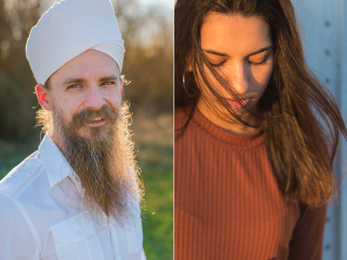 A diptych photo of a bearded man in white and a dark haired girl in maroon jumper - camera settings for portraits