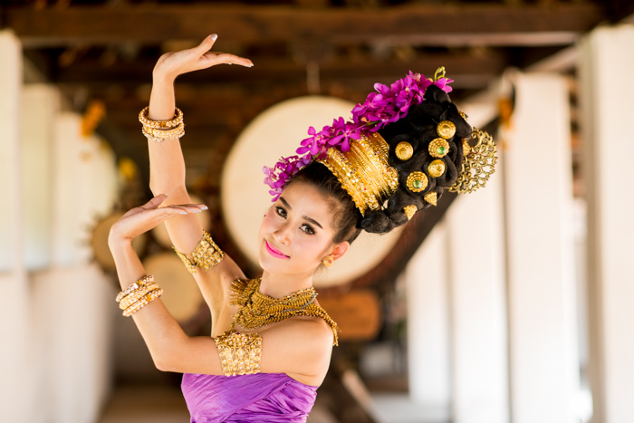 Portrait of a beautiful Thai dancer in the centre of the frame