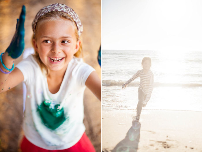A diptych of pictures of a little girl playing