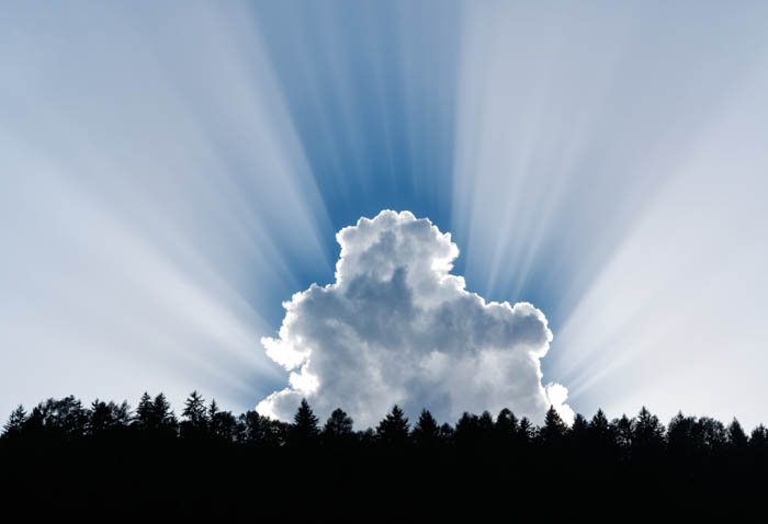 Stunning shot of a fluffy cumulus cloud radiating beams of diffused light, over the silhoouettes of trees - cloudy day photography tips