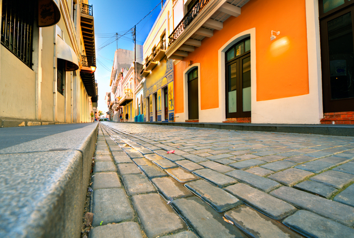 Cobblestone street viewed at a low angle in the Old City of San Juan, Puerto Rico.