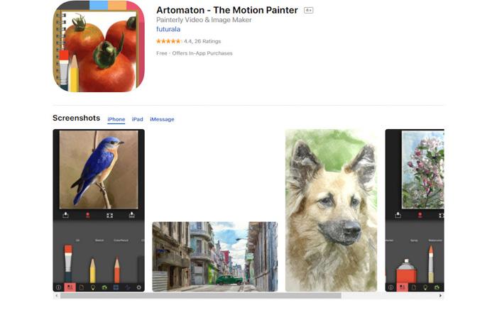 A screenshot of Artomaton app e to turn photos into sketches
