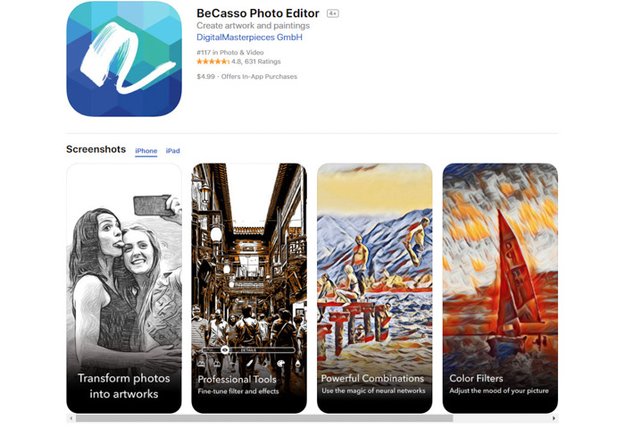 A screenshot of Becasso Photo editor drawing app to turn photos into drawings