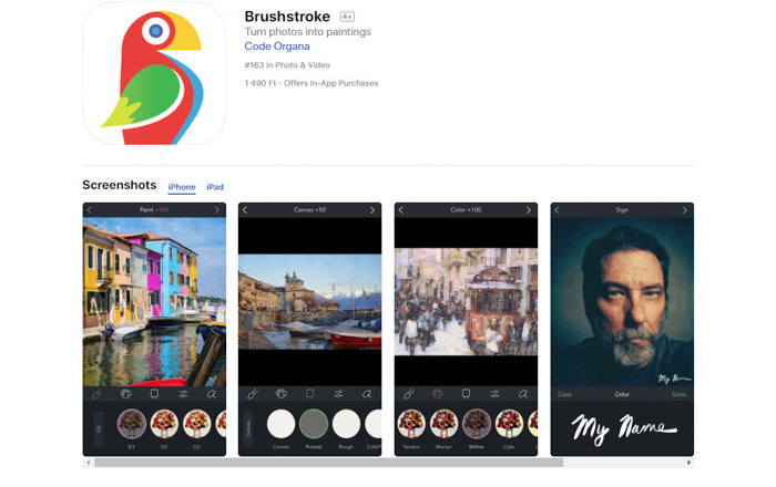 A screenshot of Brushstoke drawing app to turn photos into sketches