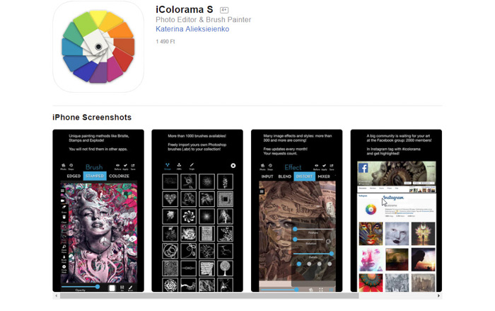 A screenshot of iColorama app for turning photos into drawings or sketches