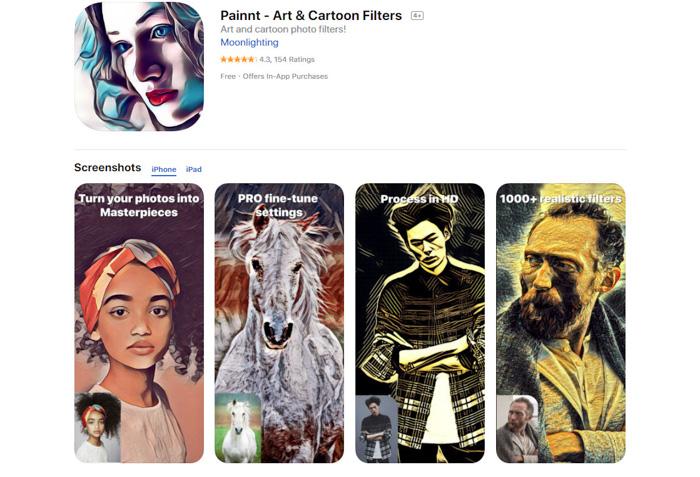 A screenshot of Painnt drawing app homepage