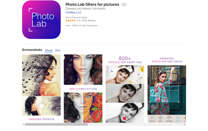 A screenshot of Photo Lab filters to turn photo into sketch