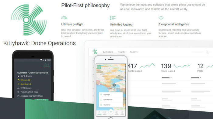 A screenshot of kittyhawk homepage - best aerial photography apps