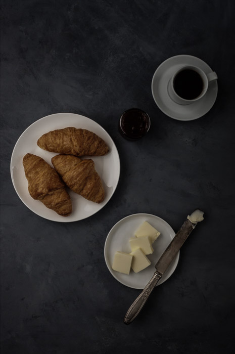 Overhead dark and moody food photography shot