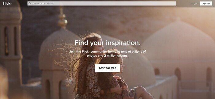 Capture d'écran de la page d'accueil Flickr