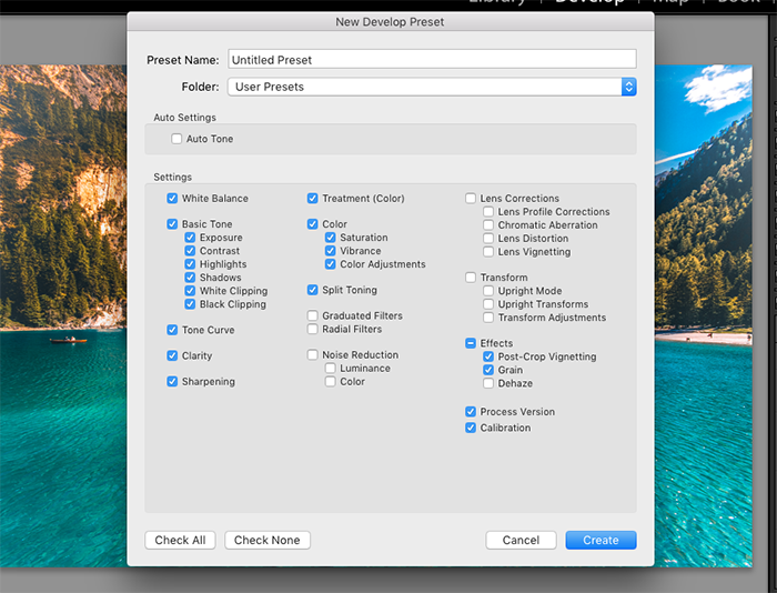 A screenshot showing how to save Lightroom presets