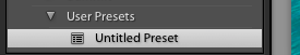 A screenshot showing how to save Lightroom presets - untitled preset