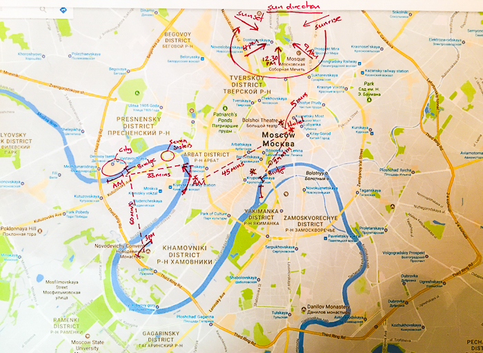 photo of a map with a planned trip drawn in red marker