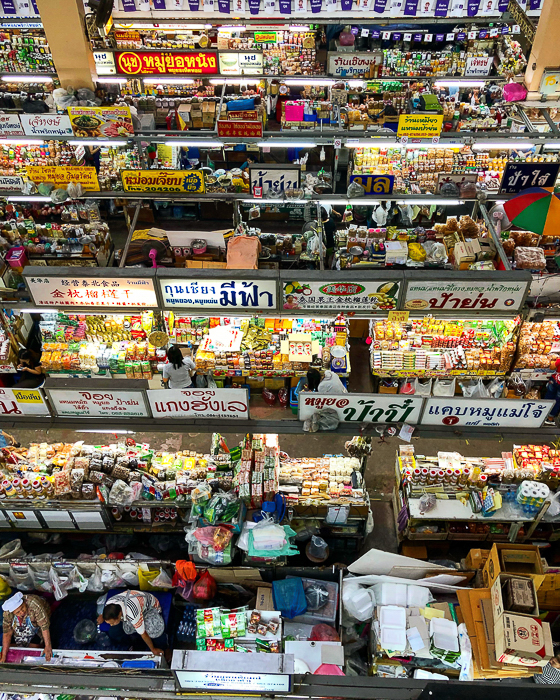 view from the top of many stalls at a market