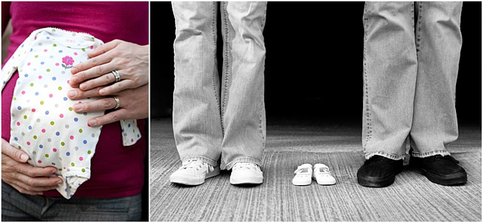 two photos, on the left, holding baby onesie against her pregnant belly, on the right, close up of mom and dad's feet, little baby shoes between them