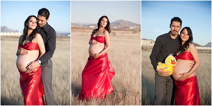 outdoor maternity photoshoot in a grass field, three photos, woman in red satin wrap dress