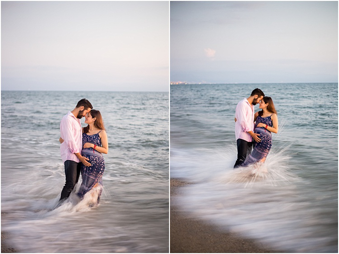 romantic maternity photoshoot, couple standing in the sea
