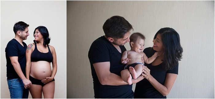 before and after pregnancy photos. On the left, husband and pregnant wife, on the right, couple holding laughing baby between them