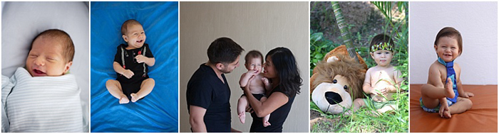 collage of 5 photos in a row, baby at different ages, photo in the middle of parents and newborn