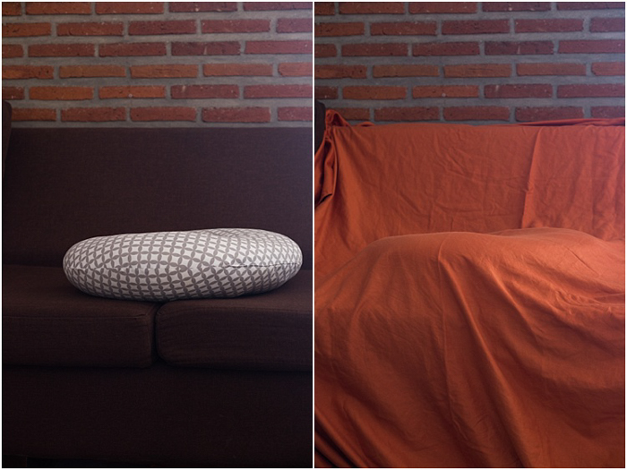 two photos. household items to use as props for newborn baby photos. throwpillow, blanket.