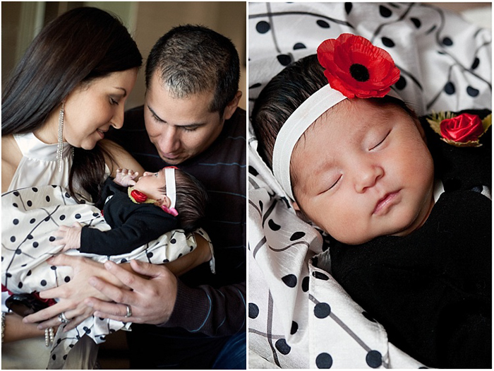 Diptych of parents holding newborn baby in a white headband and dark dress. On the right, close up of sleeping baby in white headband with red flower