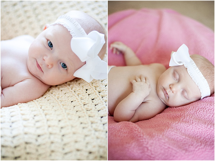two photos of baby girl. on the left, lying on a woven blanket, wearing a white headband. on the right, sleeping on a pink pillow.