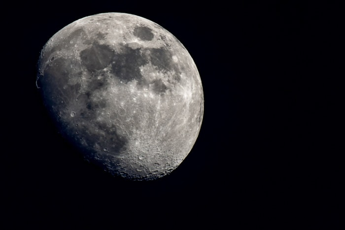 A close up photo of the moon