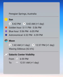 A screenshot of widgets interface in the photopills app