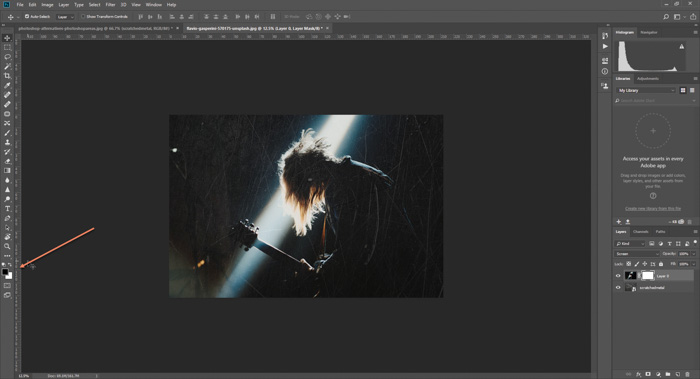 Screenshot of how to add a scratchy textured background to a concert photo in Photoshop