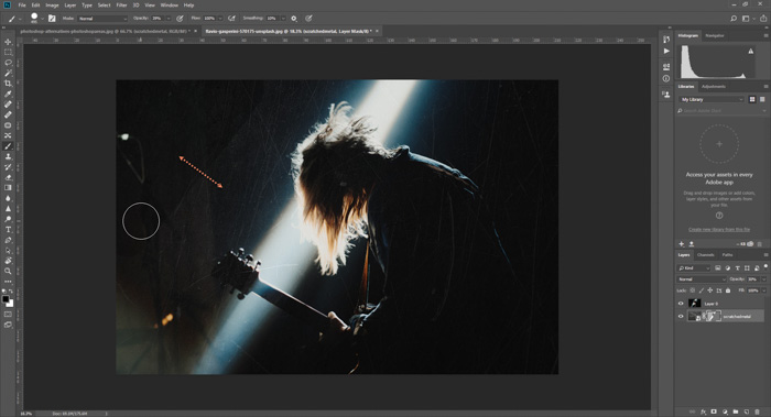 Screenshot of how to add a textured background in Photoshop