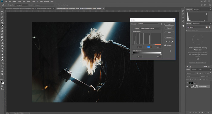Screenshot of how to add a scratchy textured background to a concert photo in Photoshop - photoshop textures
