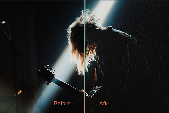 A concert photography shot divided in half - before and after adding a textured background in Photoshop