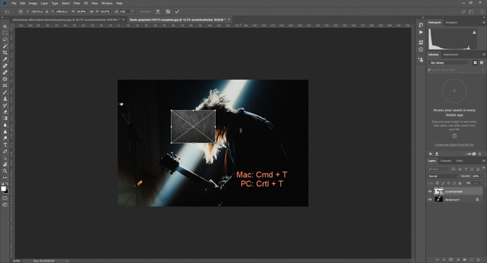 Screenshot of adding Photoshop textures to a concert photography shot