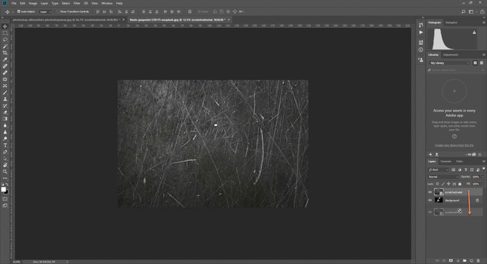 Screenshot of how to add a scratched texture to a photo in Photoshop