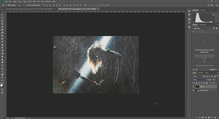 Screenshot of how to add a scratched texture background to a photo in Photoshop