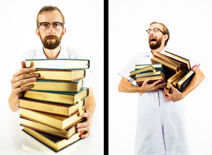 Diptych of a man carrying a pile of books - using photography props for better effect