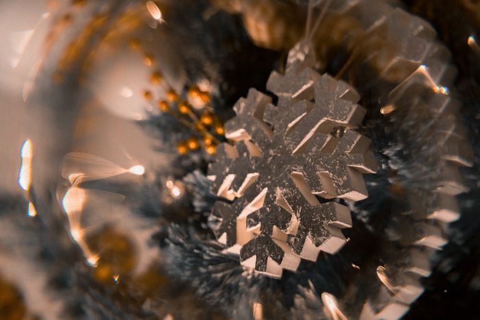 A close up of a Christmas ornament shot through a photography prism