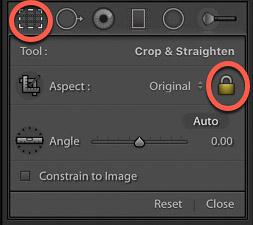 screenshot of activating the crop tool on lightroom