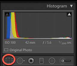 captura de pantalla de un histograma de cámara: edición de fotografías de productos