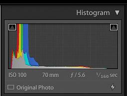 captura de pantalla de un histograma de cámara
