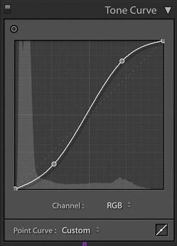 captura de pantalla del ajuste de la curva de tono de una imagen en Lightroom para la edición de fotografías de productos