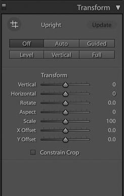 captura de pantalla del uso de la función de transformación en Lightroom