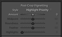 screenshot of adjusting the post crop vignetting on Lightroom for product photography editing