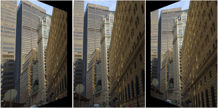 A triptych of the same architectural photo edited by rawtherapee