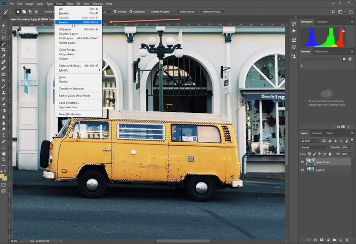 A screenshot of editing photo of parked yellow van in Photoshop. Selecting inverse