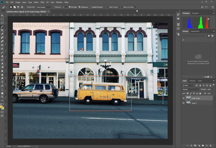 editing photo of parked yellow van in Photoshop. selecting primary color