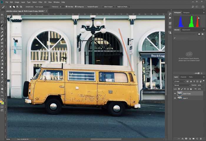 A screenshot of editing photo of parked yellow van in Photoshop. refining colour selection