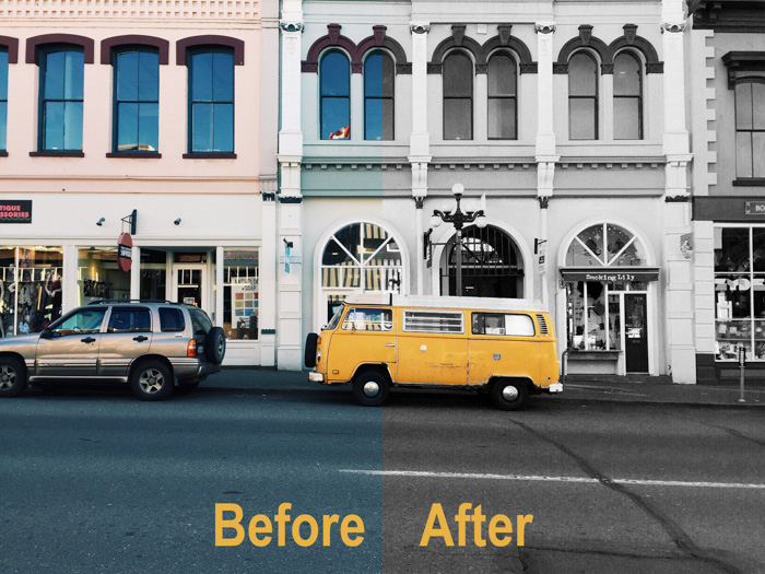 before and after comparison of editing photo of parked yellow van using selective color photoshop