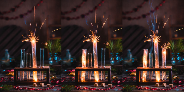 three photos showing progress of merging of three separate photos of sparklers in a set of test tubes