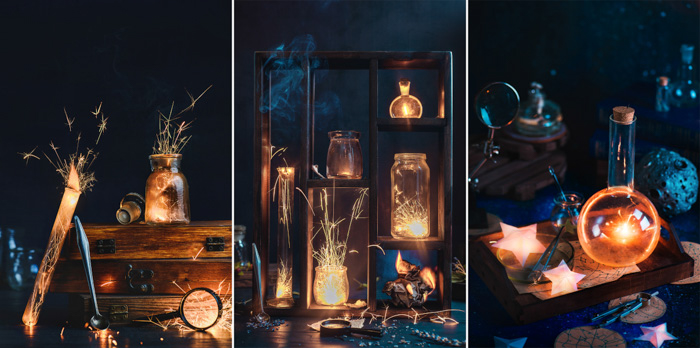 study of three photos using sparklers with various props: test tubes, stars, flasks